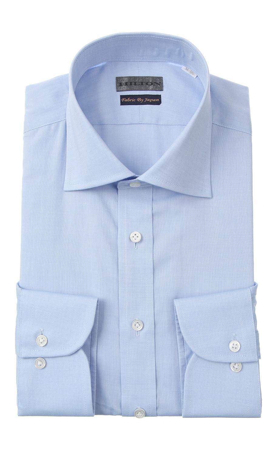 HILTON【戸賀 敬城氏プロデュース】【コットン100%】ワイドカラーワイシャツ/ライトブルー